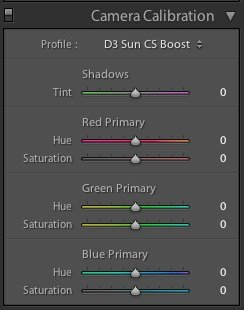 Adobe RAW Camera Calibration Tab