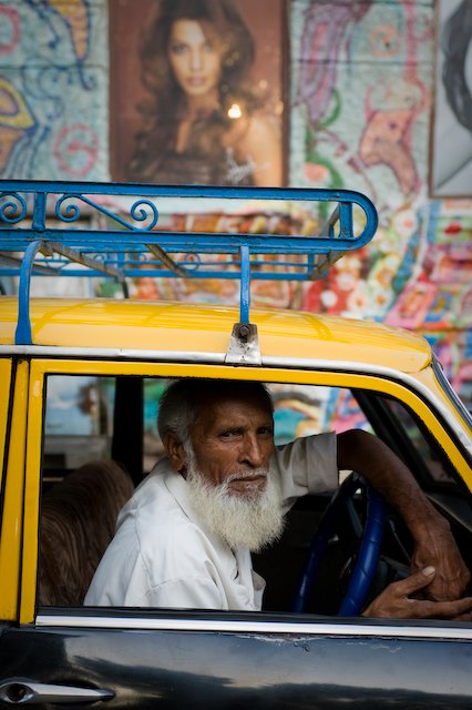 A taxi driver in Mumbai, India.