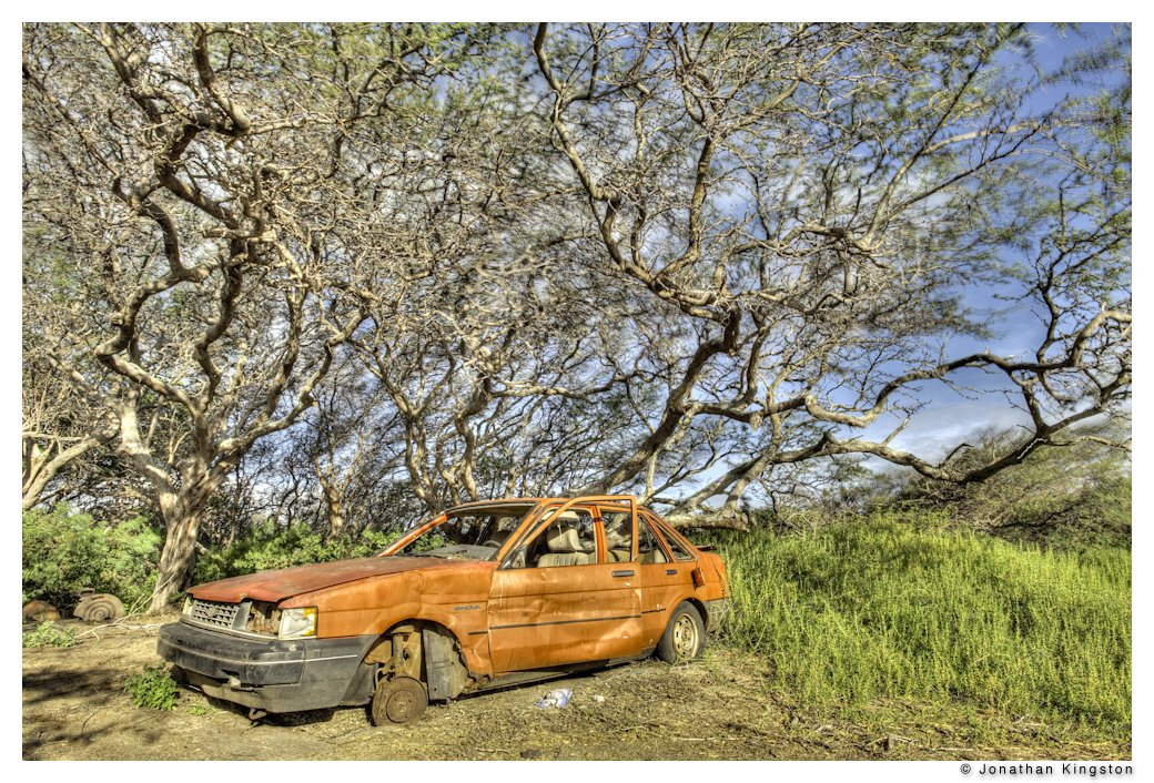 Dead red car, Molokai, Hawaii