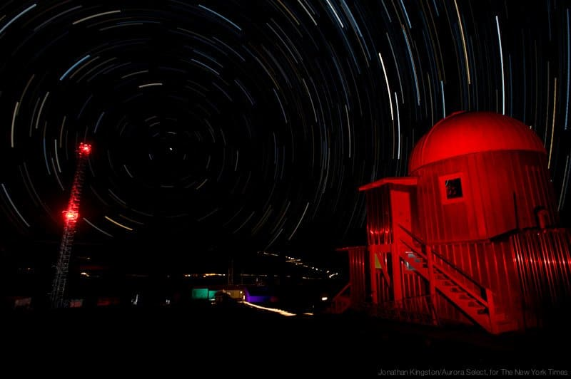 A time exposure at Mauna Loa Observatory, lasting a little over an hour, produced star trails as Earth rotated.