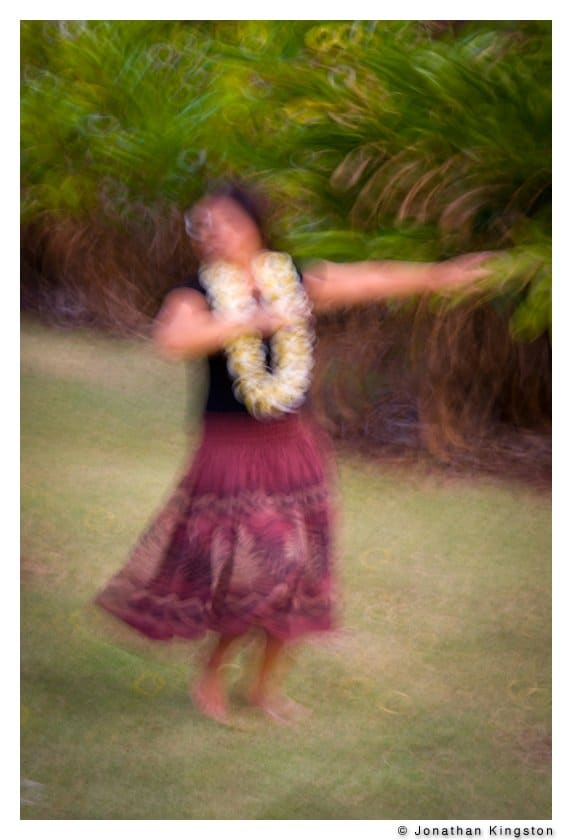 Hula dancer, Molokai, Hawaii. (slow shutter)