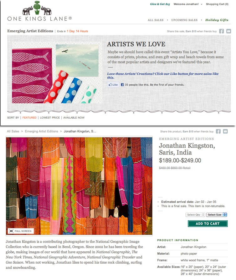 "Jonathan Kingston featured on One Kings Lane ""Artists We Love"" Sale, December 2011"